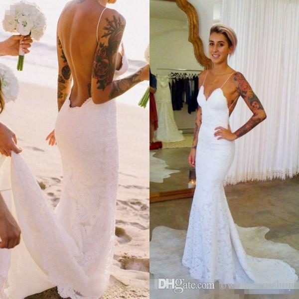 2019 Boho Mermaid Backless Beach Wedding Dresses Spaghetti Straps Sleeveless Romantic Full Lace Open Back Bridal Gowns With Sweep Train