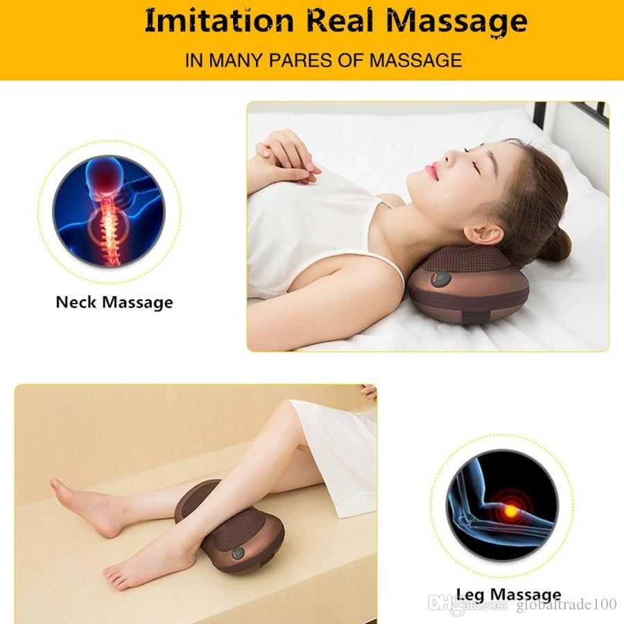 Riscaldamento a raggi infrarossi Car Home Full Body Head Back Neck Rolling Massager impastante shiatsu Cuscino da massaggio a infrarossi Cuscino con calore