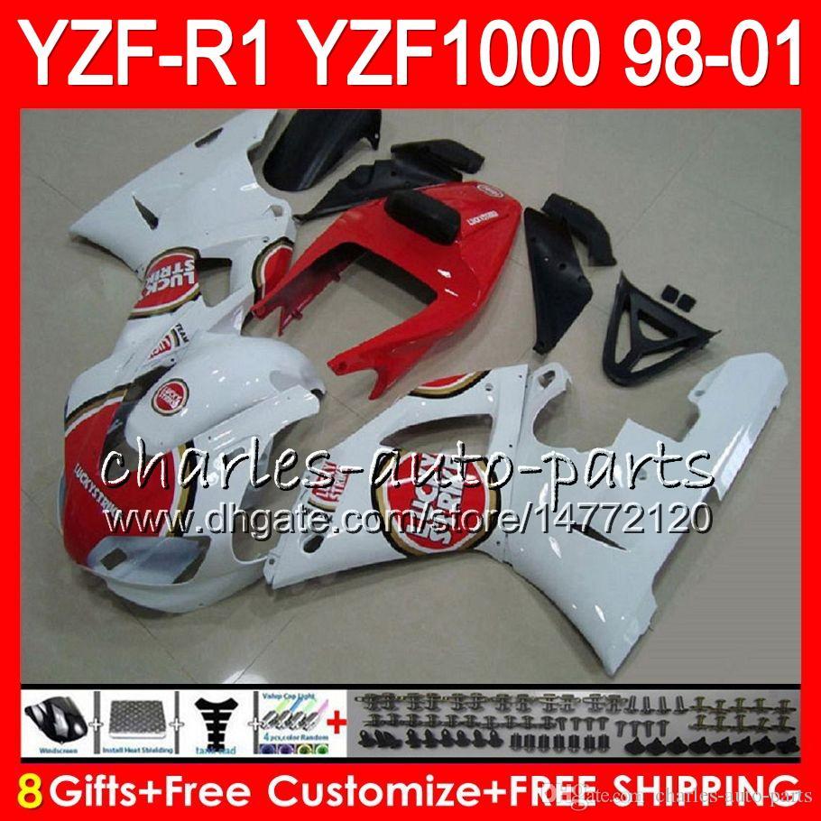 8Gift Cuerpo para YAMAHA YZF1000 YZFR1 98 99 00 01 YZF-R1000 61HM19 blanco rojo YZF 1000 R 1 YZF-R1 YZF R1 1998 1999 2000 2001 Carenado