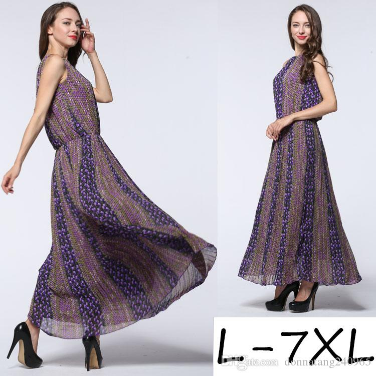 88ab423c655f European And American Fashion Dress Printing Chain Neck Dress Sexy Large  Keyhole Back Beach Long Maxi Dress Purple Dress Special Occasion Dresses  From ...