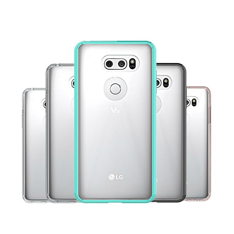 new styles dff12 46ea1 Für LG V30 Fall Hybrid Weiche TPU Stoßfänger Klar PC Rückseitige Abdeckung  Fall Für LG V30