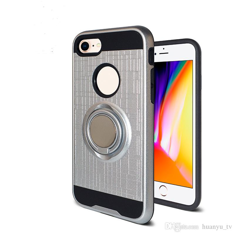 For ZTE Avid Trio/Warp 7 PC TPU Hybrid Defender Brushed Metal Cell Phone Case With Ring Kickstand Cover Low Price
