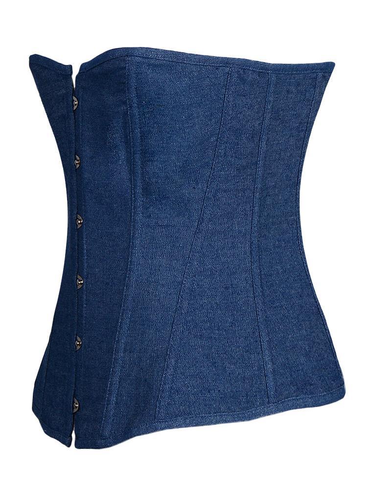 Sexy azul Demin corsé con encaje tanga mujer ropa interior ropa interior más tamaño Overbust Jean Bustier C8204