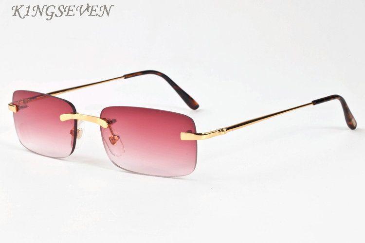 2018 디자이너 버팔로 뿔 선글라스 남성용 여성용 대형 특대 복고풍 핑크 퍼플 투명 렌즈 다중 림리스 선글라스 박스 및 케이스 포함