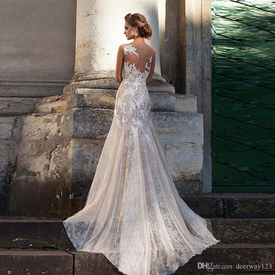 레이스 웨딩 드레스 2020 환상 네클라인 아플리케 빈티지 신부 가운 로브 드 MARIAGE 칼집 웨딩 드레스 쉬어 가기 Vestido