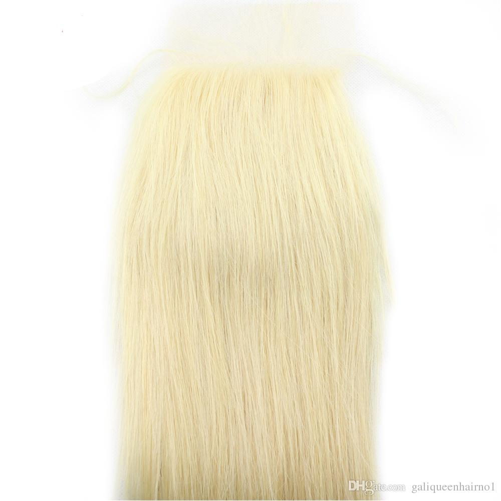 Platinum Blonde 613 Cierre de encaje recto con pelo de bebé Nudos blanqueados Remy Cabello humano 4x4 Cierres de encaje