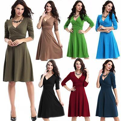 6f3d32070089 New Summer Dress Women Wrap Midi Dress Folding Long Sleeve Deep V ...