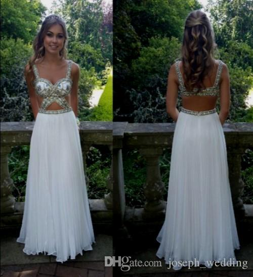 Two Piece A-Line White Long Evening Dresses Spaghetti Strap Chiffon Pattern Beading Sequined Backless Formal Prom Gowns