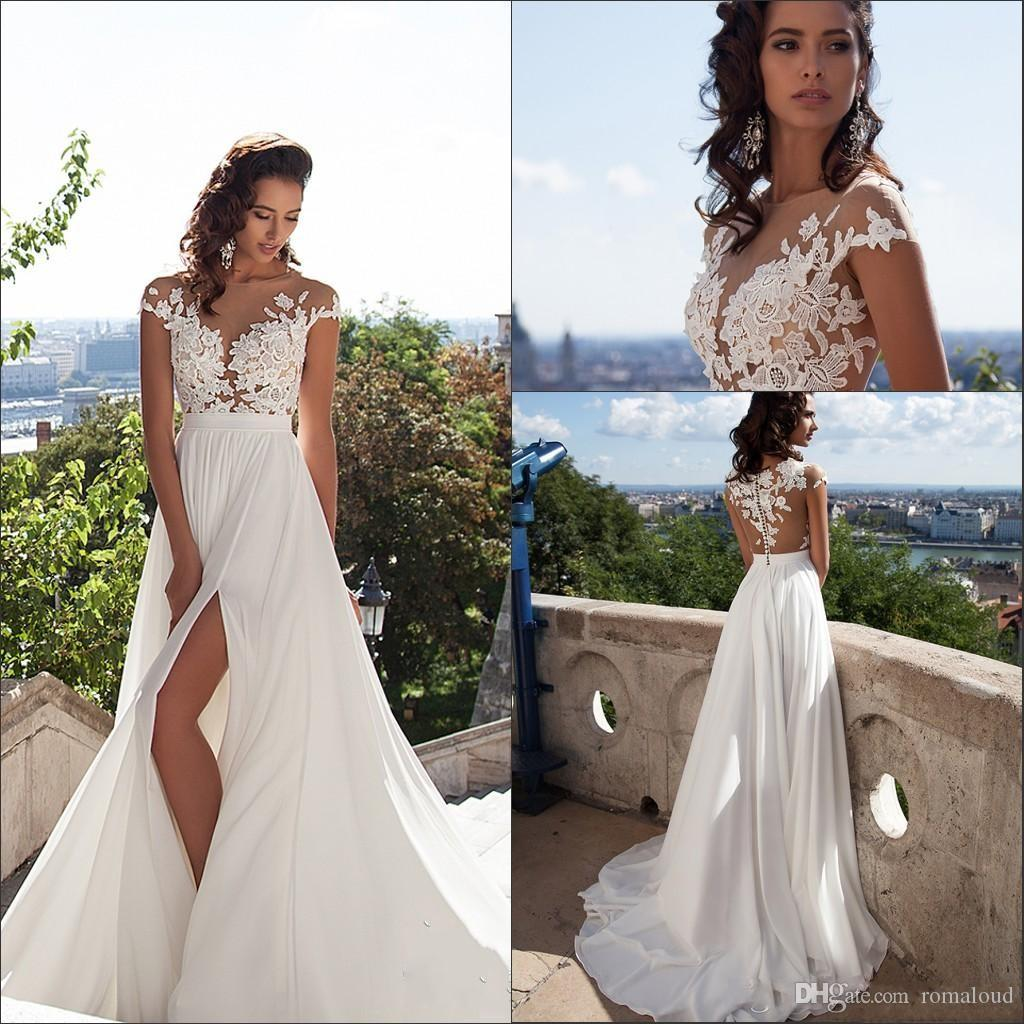 Discount Summer Beach Cheap Wedding Dresses Lace Applique Sheer Neck Sexy High Side Split Formal Gowns Bridal Custom Made Quality Used