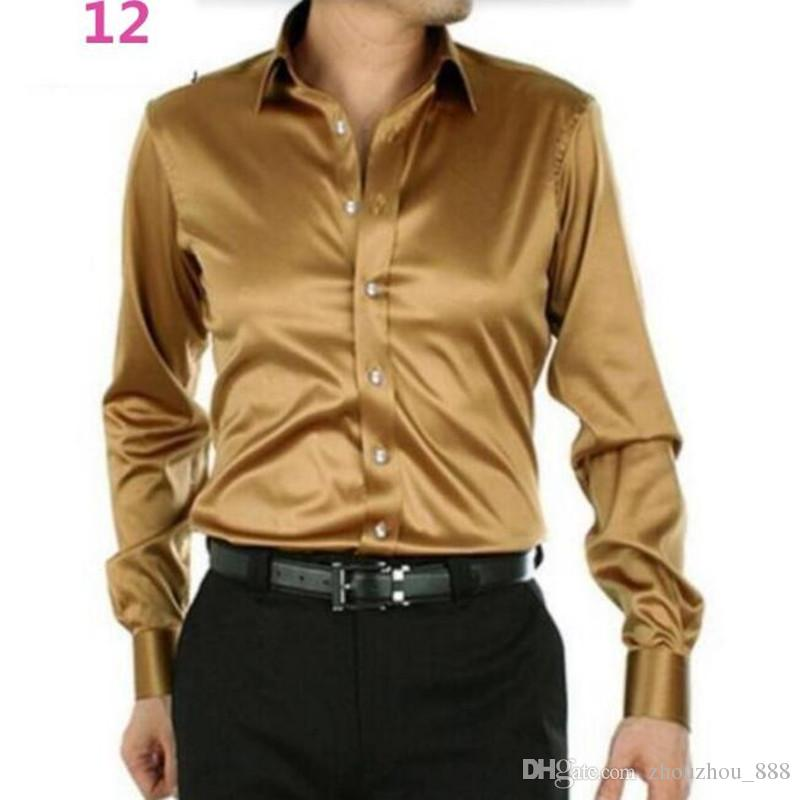 Men Dress Shirt Custom Casual Suits Silk Satin Long sleeve Casual shirts fashion style Groom Shirts golden
