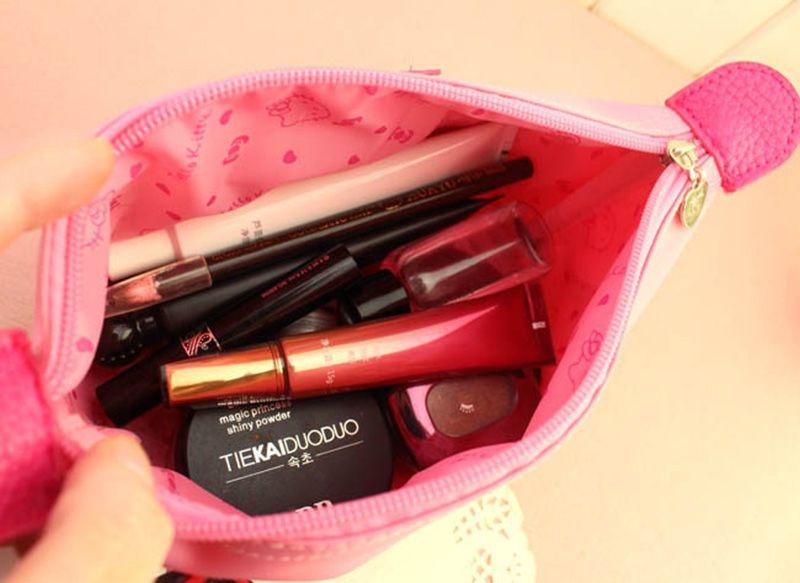 Neue Frauen Cartoon Hallo Kitty Reißverschluss Make-Up Tasche Mädchen Nette Kosmetiktasche Reise Aufbewahrungsbeutel Make-Up Veranstalter