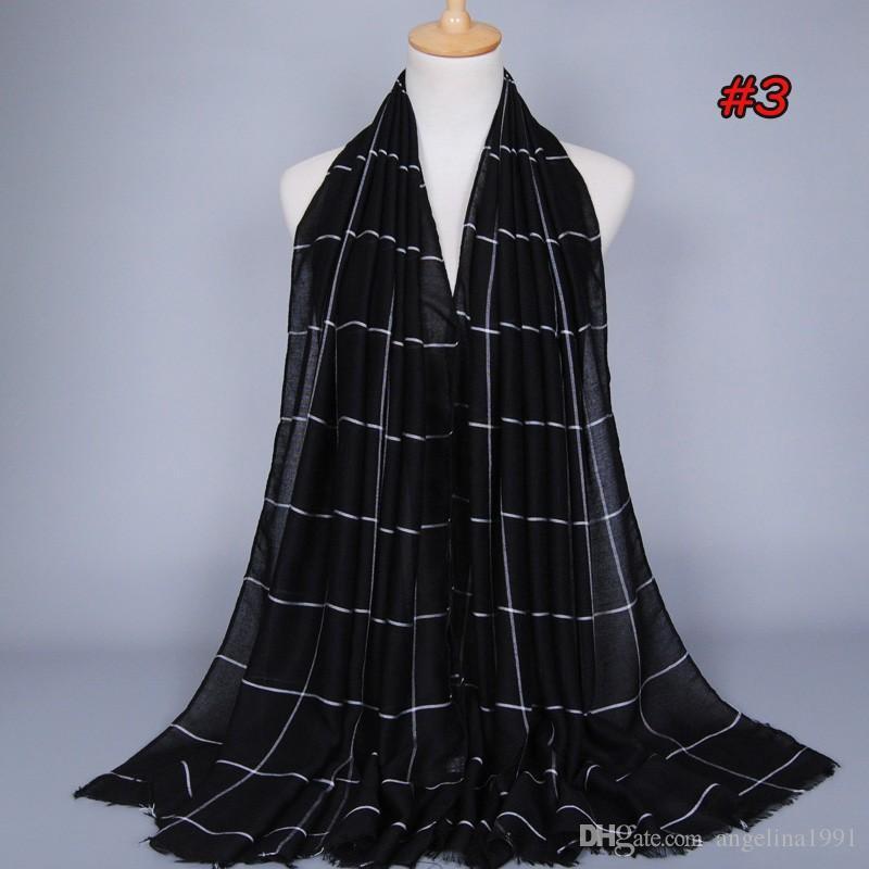 High quality ladies cotton plaid popular shawls muffler headband hijab summer cape muslim scarves/scarf