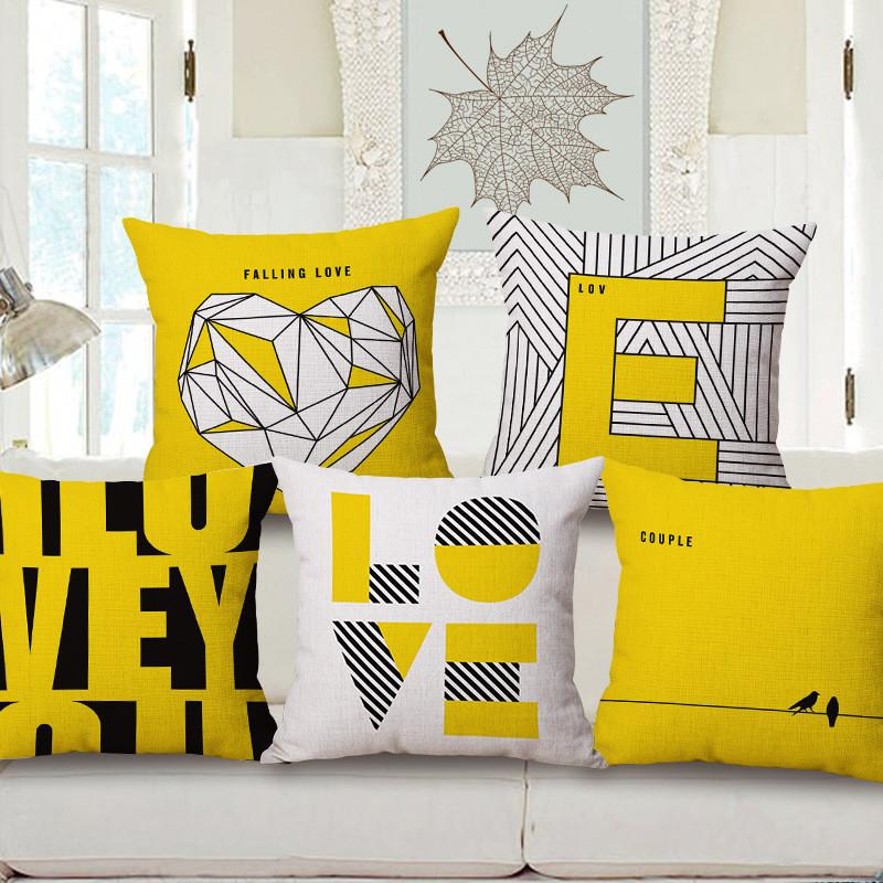 Wholesale Pillow Case Square 18 Love Printed Pillow Cover Yellow