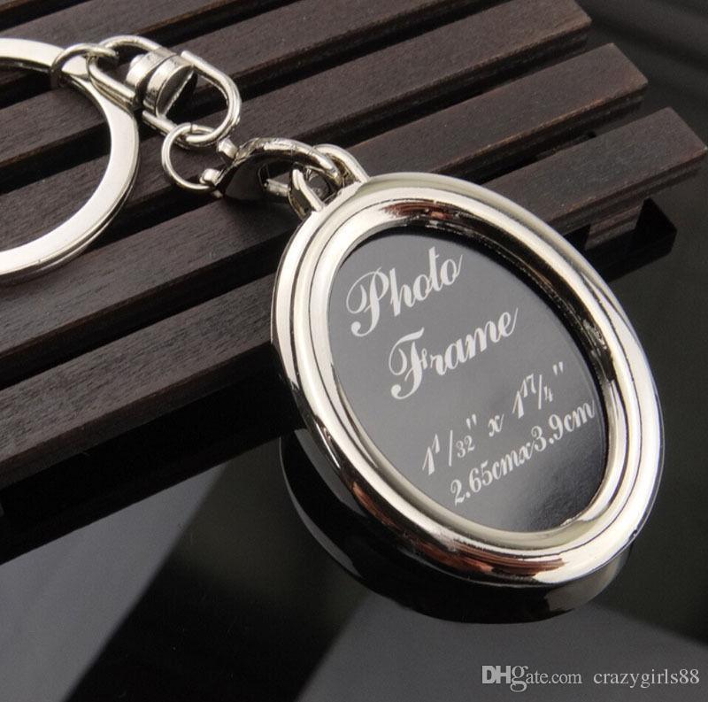 New Fashion Creative 6 Designs Couple Heart Round Square Shape Photo Frame Key Chain Photo Keychains Zinc Alloy Key Ring