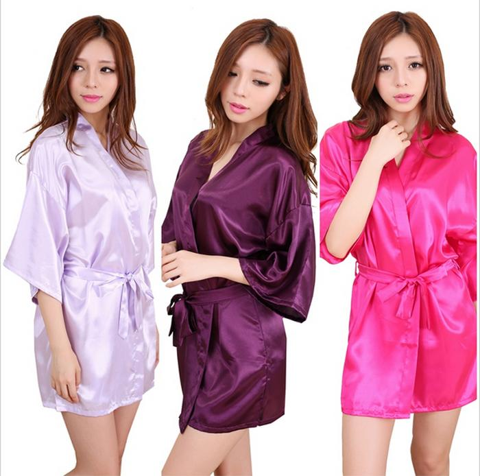 2018 Wholesale Women Silk Dressing Gown Wedding Bride Bridesmaid ...