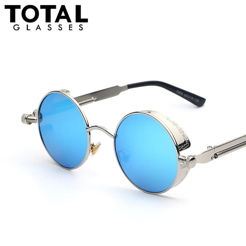 665be2e456 Wholesale Gothic Steampunk Mens Sunglasses Coating Mirrored Sunglasses  Round Circle Sun Glasses Retro Vintage Gafas Masculino Sol Best Sunglasses  Dragon ...