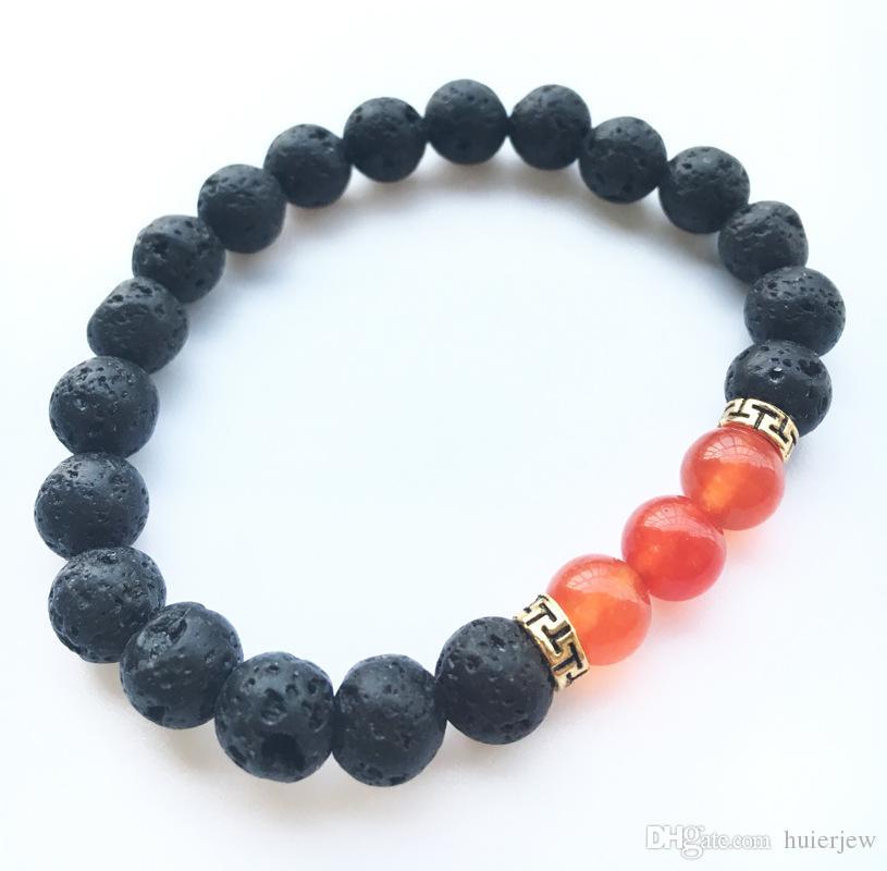 Lava Rock Stone Beads Bracelet Charm Rock Natural Stone Turquoise Tiger Eye Beads Bracelet Fashion Jewelry Crafts Men Chakra Bracelet