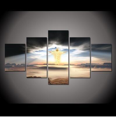 Çerçevesiz 5 Adet Modern Resimlerinde Oturma Odası Için Tuval Duvar Sanatı Efendisi İsa Yağlıboya Tuval Baskılı Güzel Resimler