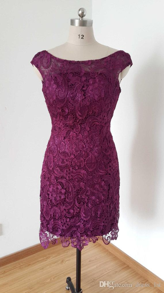Vintage 2017 Purple Lace Short Sheath Mother Of The Bride Dresses Cheap Scoop Backless Knee Length Mother Of The Groom Dress EN71115