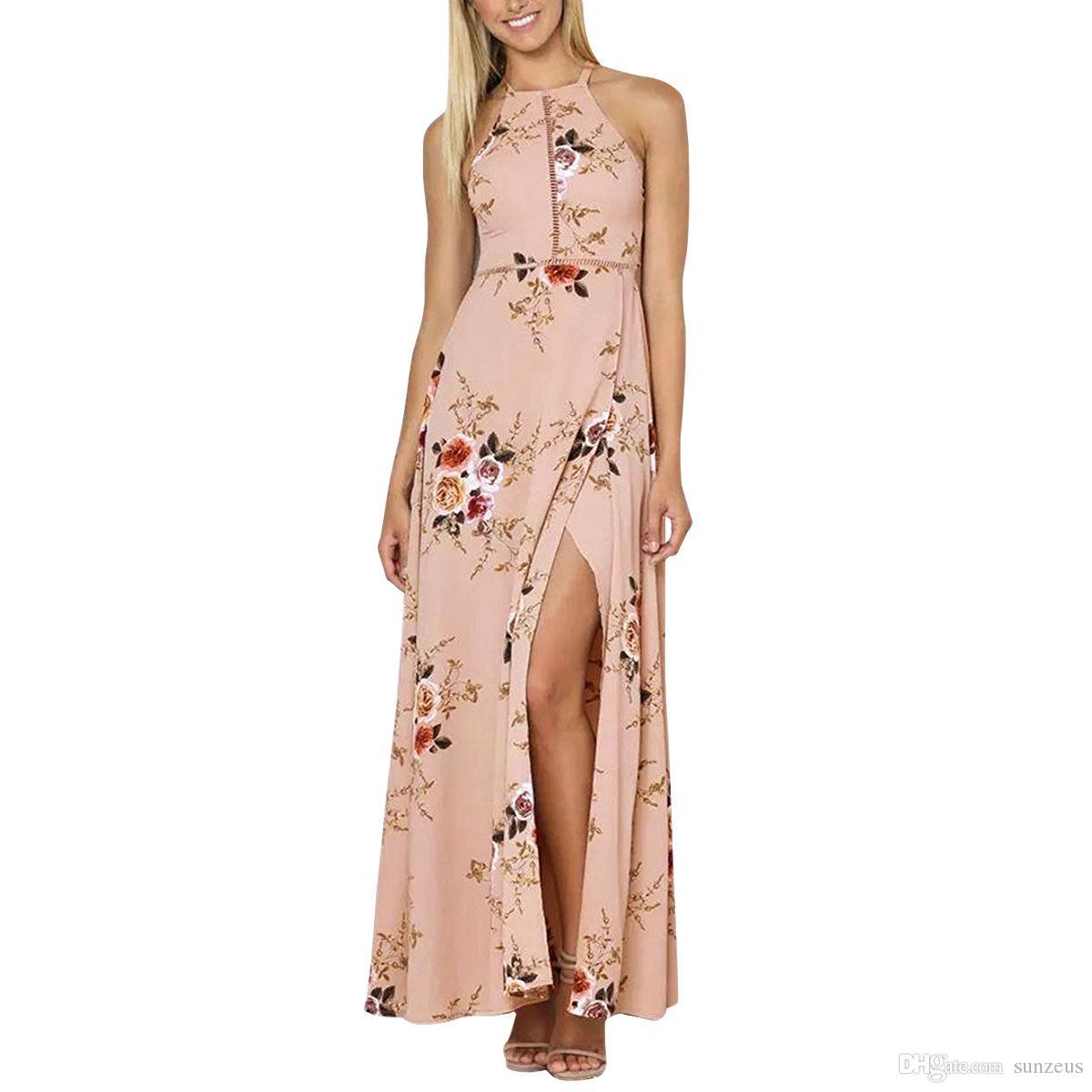 fd584977fb Compre Vestido Largo Blanco   Rosa Halter De Verano Para Mujer Vestido  Estampado Floral De Noche De Raya Para Mujer Vestido De Fiesta Espalda  Abierta Falda ...