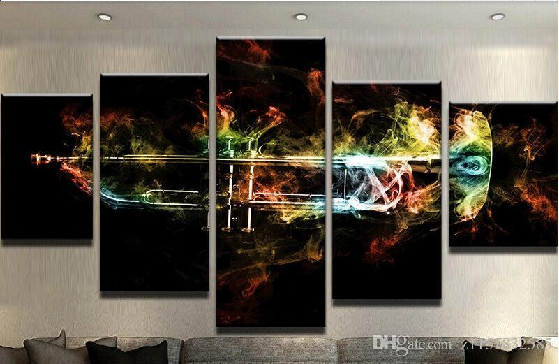 Modern Tuval Boyama Modüler Poster 5 Parça Duvar Sanat Trompet Flames Ev Dekor Oturma Odası Için Baskılı Resimler Yapıt