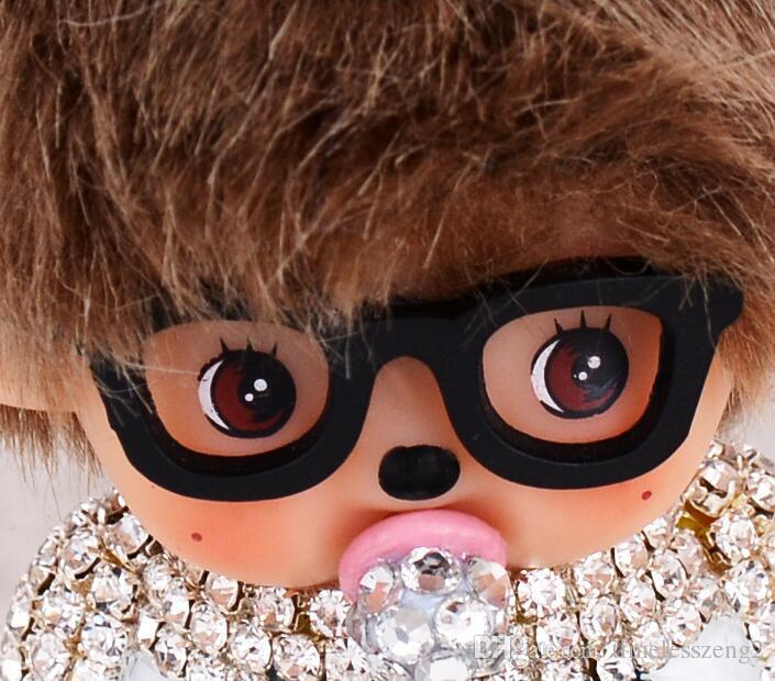 Nette Monchichi Keychain Rhinestone-Puppe-Leder-Auto-Schlüsselring-Frauenhandtaschen-Schlüsselketten-Taschen-Charme-Anhänger porte Clef