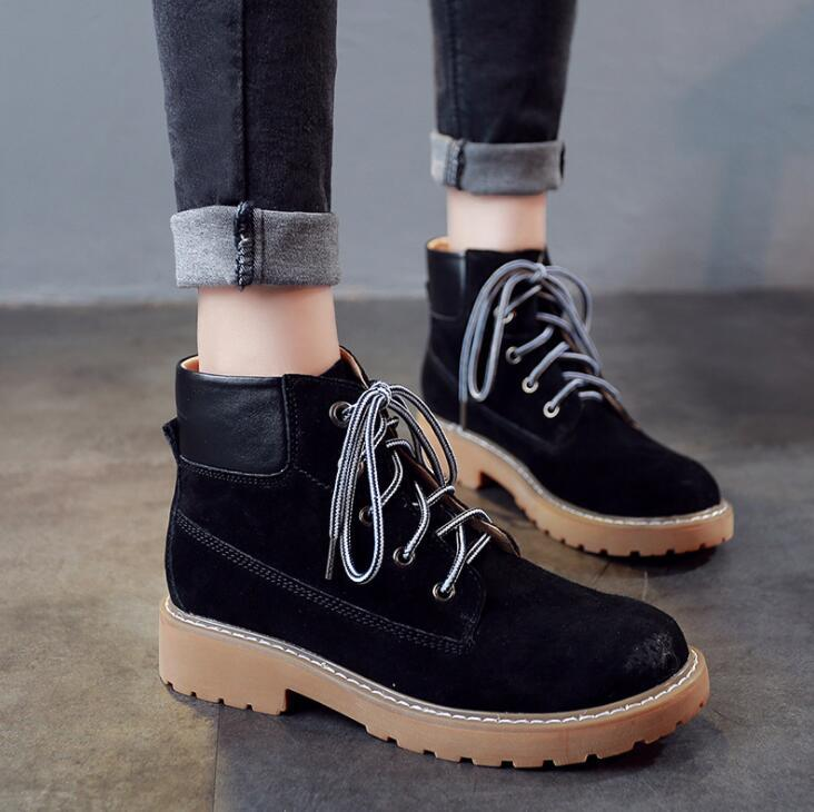2017 Fashion casual warm women martin boot shoes ladies round toe lace- up winter snow boots