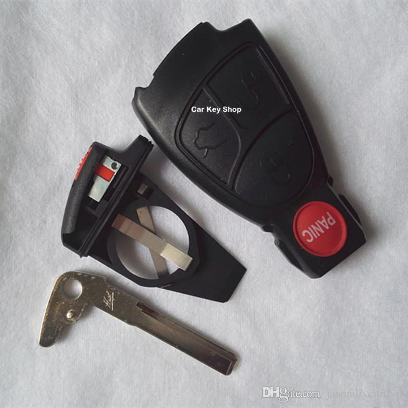 3 + 1 4 pulsanti Remote Keyless Entry Smart Key Custodia Shell Cover + KEY Blade + Batery Holder Mercedes-Benz C200 E280 S320