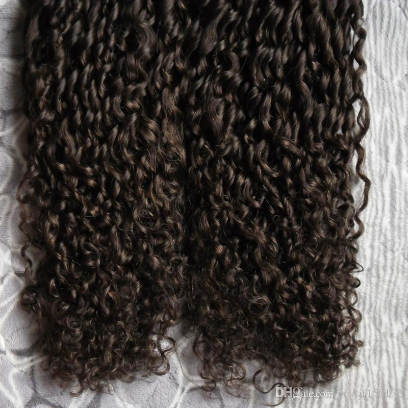 Ruban bouclé mongole en extensions de cheveux humains 200g cheveux bouclés crépus afro Extensions de cheveux en trame transparente