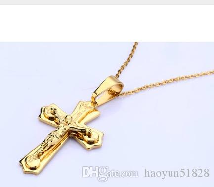Christianity Necklace Pendant Brand Necklace Silver Gold Color Jewelry Antique Cross Crucifix Jesus Cross Pendant Necklaces For Women Men