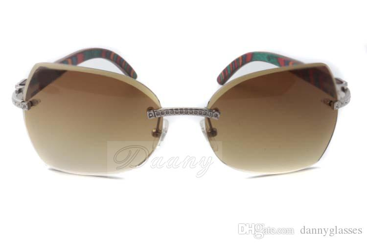 2017 high-quality diamond sunglasses T8300818 natural color peacock wood and micro-cut lenses fashion leisure sunglasses, size: 60-18-135 mm