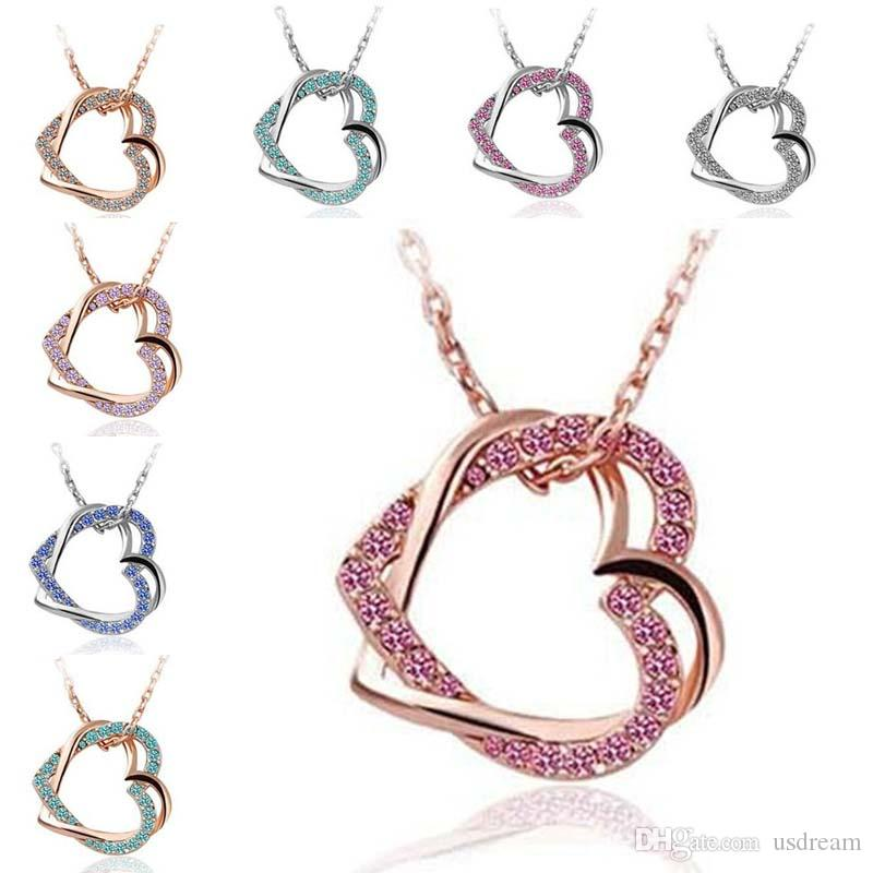 Wholesale double crystal heart necklace silver gold plated chain wholesale double crystal heart necklace silver gold plated chain love heart pendant for women wedding jewelry gift drop ship 162081 stone pendant necklace mozeypictures Image collections