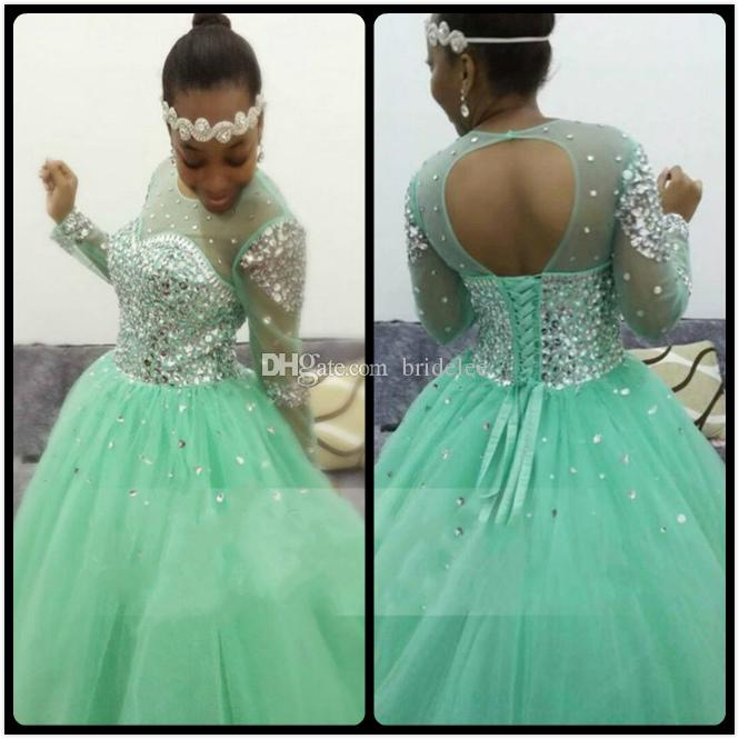 Sparkling Mint Green Prom Dresses 2020 Gliiter Rhinestones Beaded Open Back Ball Gown Long Sleeves Party Dress For Graduation