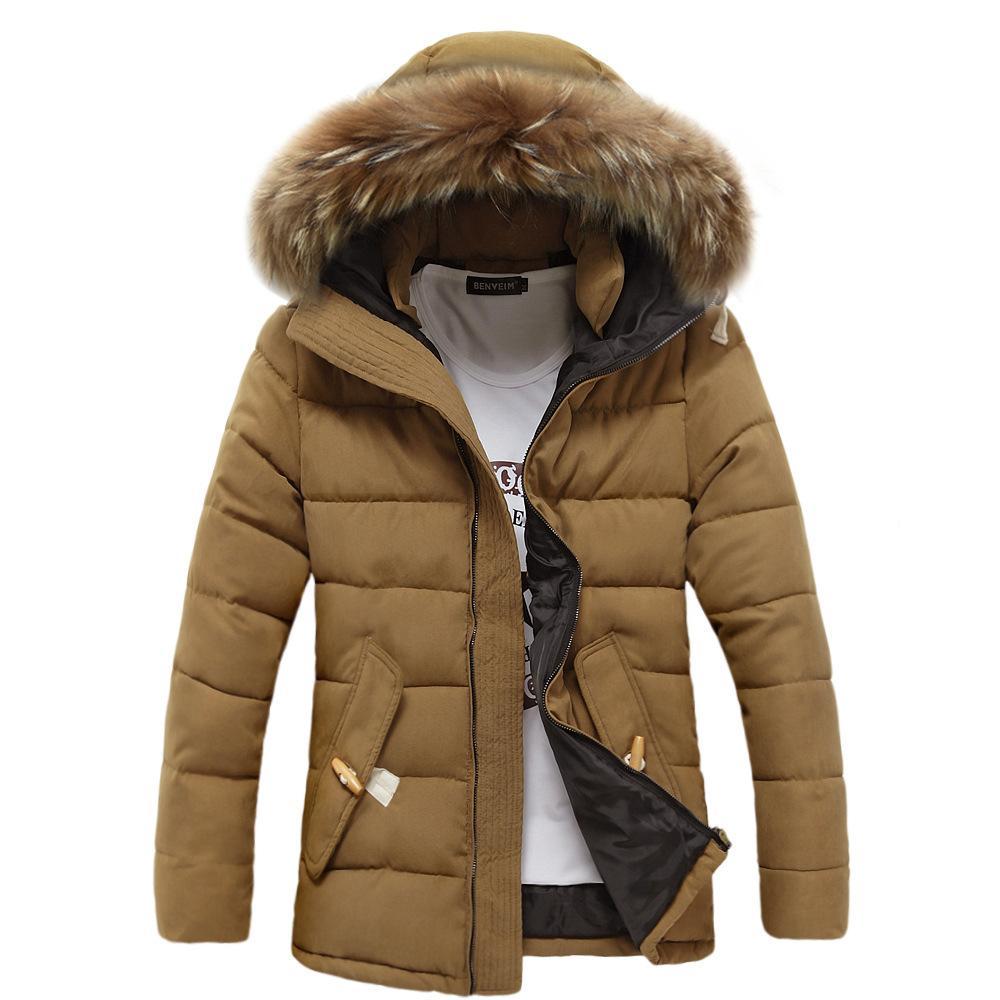 e51a247c6d4 Wholesale- Fur Collar Long Winter Jacket Men Stand Collar Warm Thick ...