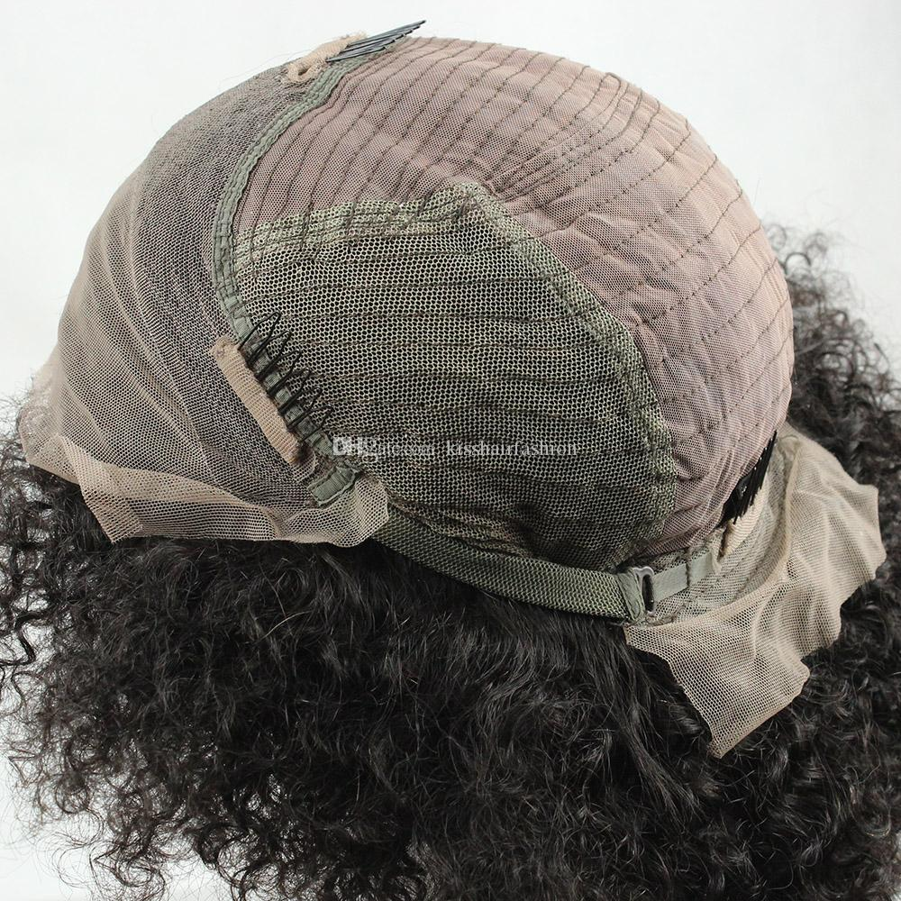 Glueless Lace Front Virgin Human Hair Wigs Frontal Lace Wigs Afro Kinky Curly Style Free Part Middle Part 10-30 inch African American Wigs