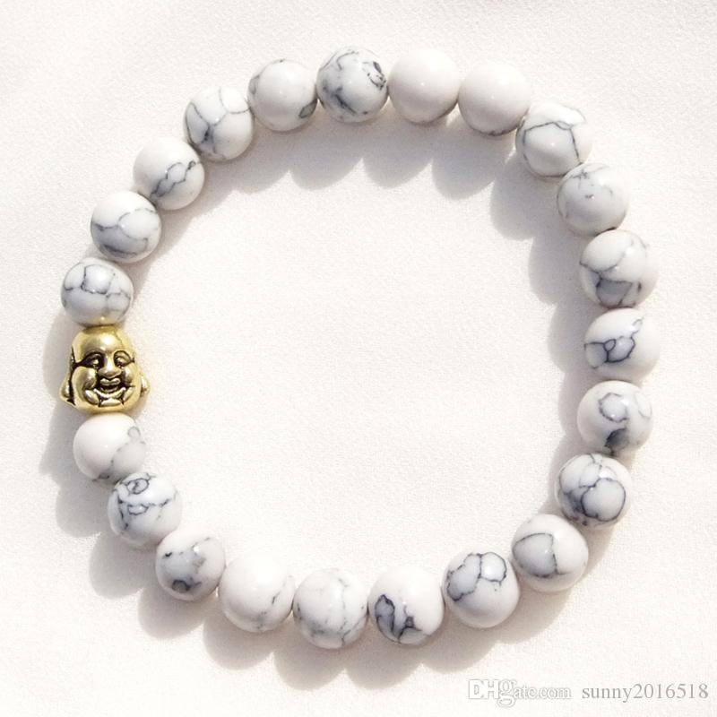 Hot Sale White Turquoise Bracelet Gold Plated Buddha Charm Bracelet Bangle for Women Men Elastic Bracelets Jewelry
