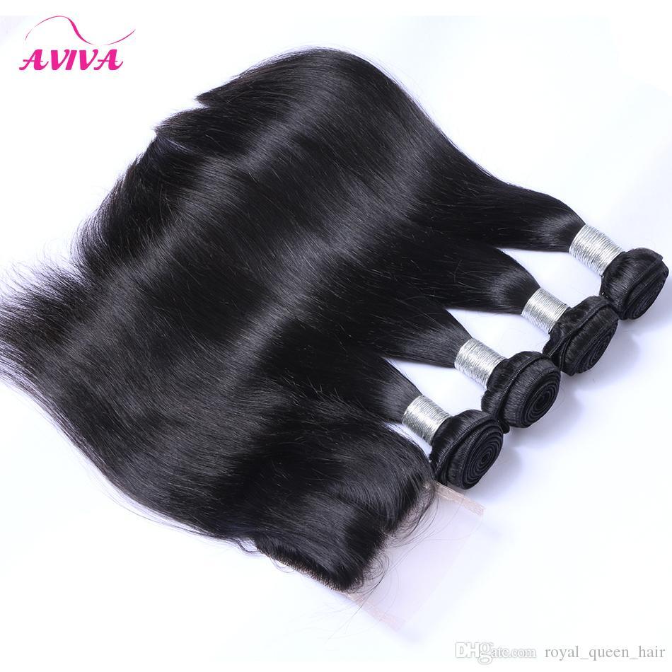 Бразильские прямые девственницы человеческие волосы Weaves Extensions 4 шт. / Лот пучки с закрытием 4x4 Бесплатная Средняя 3 Часть двойной уток
