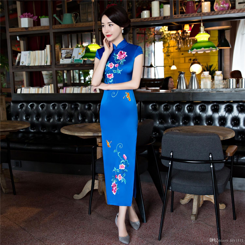 Shanghai Story Woman's Faux Silk Dress Long Chinese traditional dress Autumn Cheongsam Long qipao for women Oriental Dress