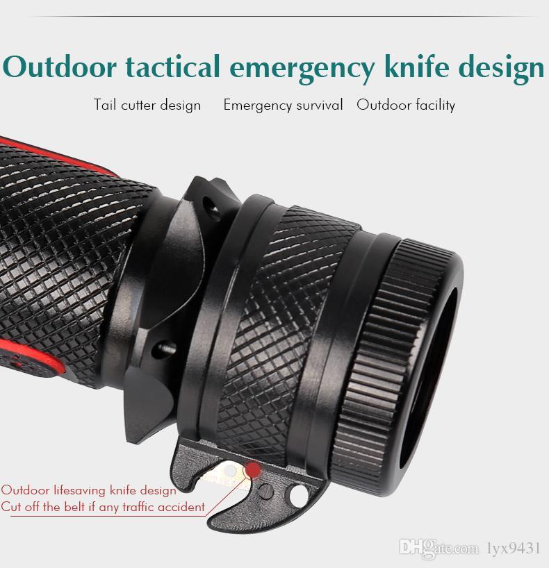 Tüplü Dalış LED El Feneri Su Geçirmez Torch Rechargebale Flaş ışığı USB Araç Şarj Doğrudan Şarj Kuyruk Bıçak Kartları CREE Q5 Handy Torch Sıcak