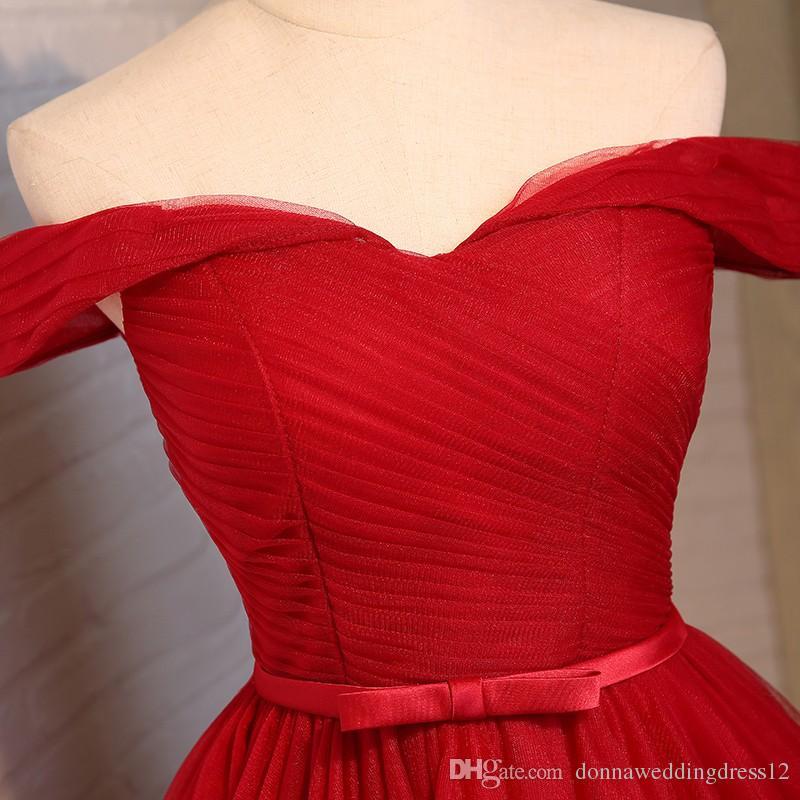 Cheap Plus Size Red Tulle Boat Neck A Line Short Prom Dresses 2017 Elegant Off The Shoulder Princess Fashion Party Dress Bridesmaid Dresses