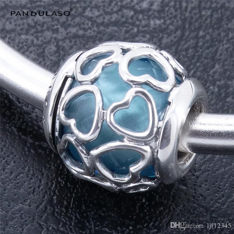 Pandulaso enfermé dans l'amour bleu ciel charmes de cristal pour femme cadeau s'adapte Pandora breloques Bracelet pour femme perles bricolage argent 925 bijoux