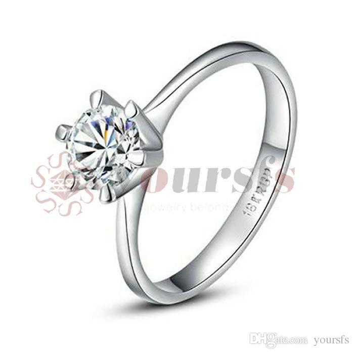 Yoursfs классический лучшие любовники подарок побеленные золото покрыло использовать Австрия Кристалл моделирование Алмаз 1 карат обручальное свадебные кольца для женщин подарок R059W1