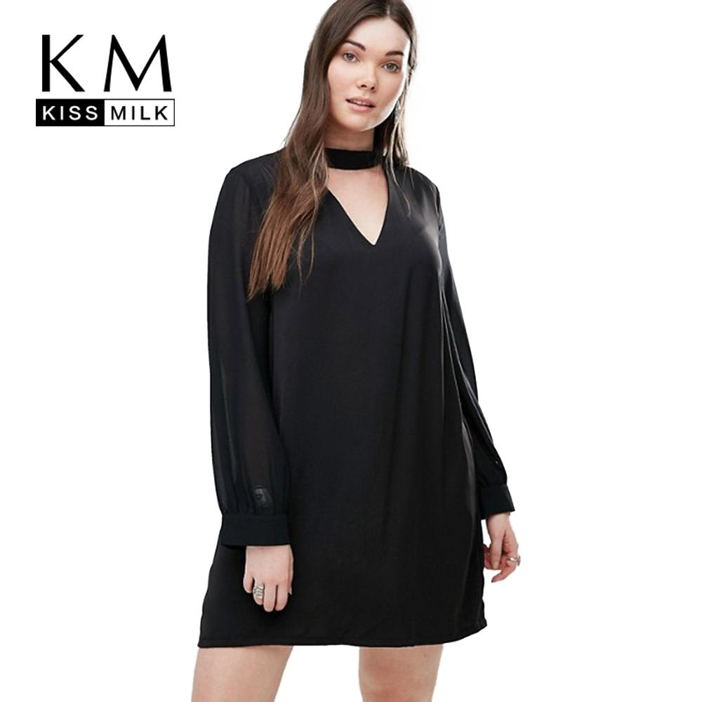 Wholesale- Kissmilk Plus Size Women Clothing Solid Casual Sexy V ... a46d44625098