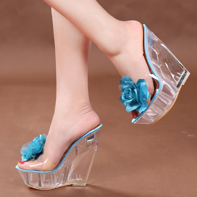 4d1458b4a8ef Kvoll Summer Flowers Slippers Nightclub Slipper Slope With Thick Bottom  Transparent High Heel Women Sandals And Slippers Peep Toe Heels Gladiator  Sandals ...