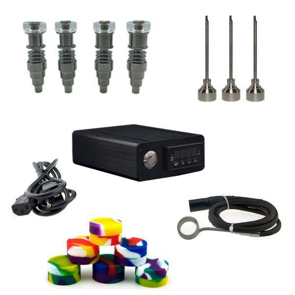 DHL free sale Portable Pelican Box E Digital Nail Kit with 6 IN 1 Ti/Qtz hybrid nails Combustion WAX oil Vaporizer kit