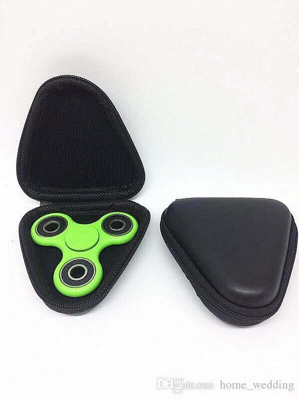 2bx Case Triangle Black Fidget Spinner Pouch Hand Spinner Toys Bluetooth Headset Storage Bags Compressive Container Portable Cases Hot Sale