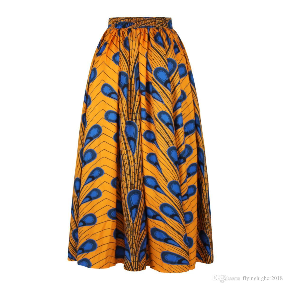 공작 패턴 하이 웨스트 브라질 퍼프 캐주얼 라인 볼 가운 꽃 아프리카 인쇄 맥시 플레어 스커트