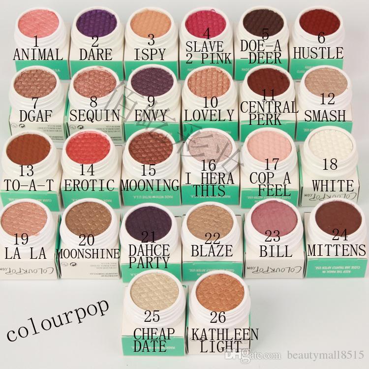 Горячие продажи Новые ColourPop Single Eyeshadow Пигменты 26 Оттенки Матовый Shimmer ColorPop глаз Контурная подсветка Пигментация макияж Свободный DHL