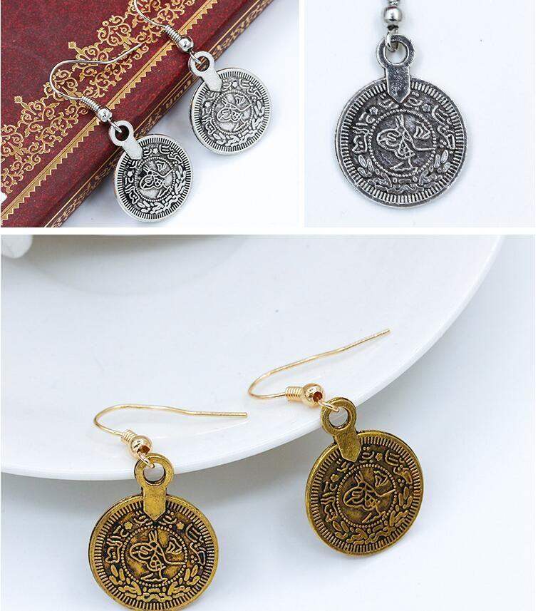 Weinlese Indische ägypten Münzen Ohrring Retro Gold überzogener Fisch Ohr Haken Antike Baumeln Leuchter Frauen Ohrringe Geben Verschiffen Frei