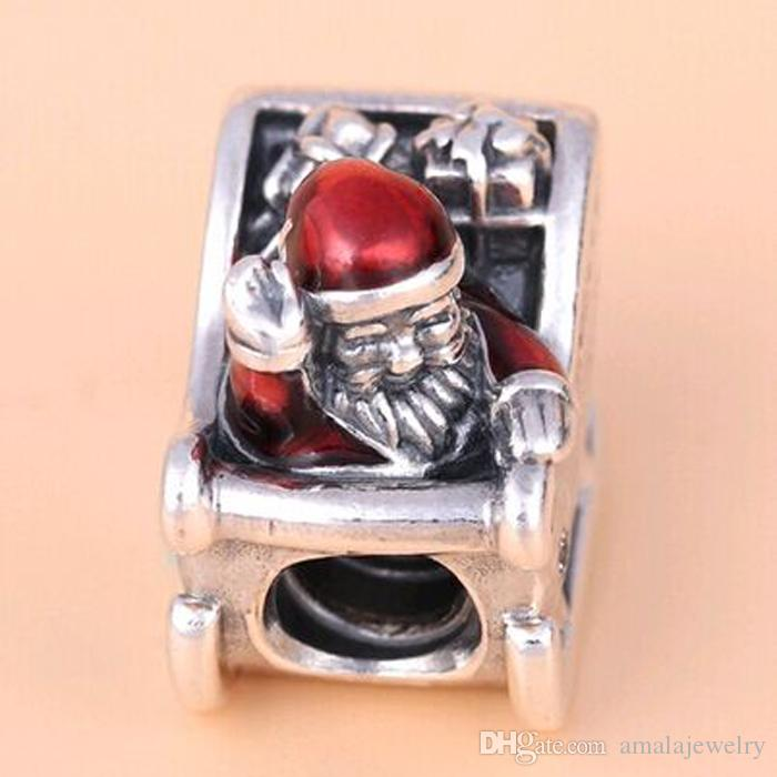 2016 Winter Loose Bead 925 Sterling Silver Sleighing Santa Charm Fits European Pandora Jewelry Bracelet Necklace & Pendant Christmas Gifts